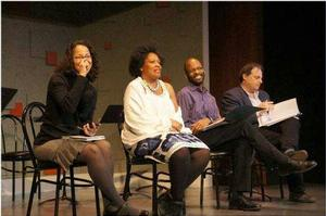 Faedra Chatard Carpenter (Dramaturg), Jacqueline E. Lawton (Playwright), Otis Ramsey-Zoe, (Director), Ari Roth (Artistic Director, Theater J) Photo by Batya Feldman.